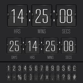 Witte countdown timer en scorebord nummers. vectoreps10-illustratie