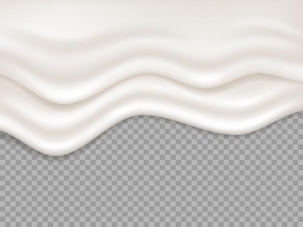 Witte crème. melk romige vloeistof, yoghurtspatten. druipend schuim, dessertsmelt vloeiende geïsoleerde illustratie. crème vloeistof, romige witte splash achtergrond