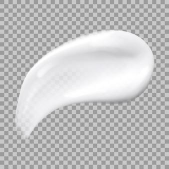 Witte crème uitstrijkje geïsoleerd op transparante achtergrond. realistische huidverzorging make-up staal. illustratie van cosmetische vlek. crème schoonheidsproduct zoals foundation, lotion, balsem.
