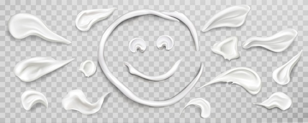 Witte crème uitstrijkjes set. cosmetica product