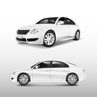 Witte die sedanauto op witte vector wordt geïsoleerd
