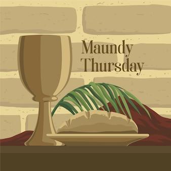 Witte donderdag illustratie met wijn en brood