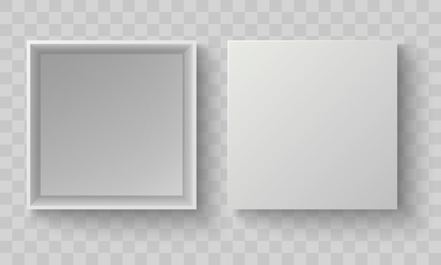 Witte doos bovenaanzicht. open verpakking mock up. lege lege realistische open kartonnen kartonnen doos.