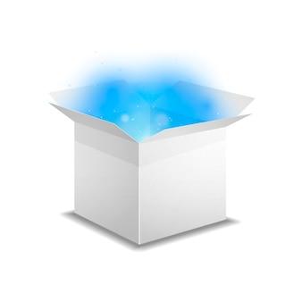 Witte doos met blauw magisch licht binnenin