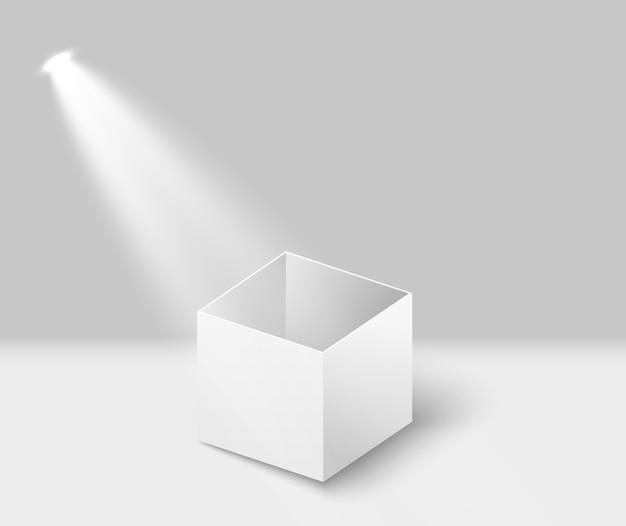 Witte doos met een schijnwerper.