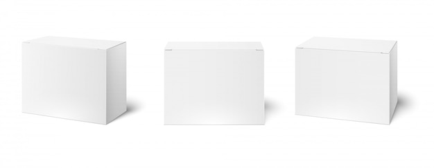 Witte doos mockup. lege verpakking dozen, kubus perspectief en cosmetica productpakket mockups 3d illustratie set