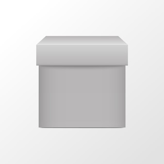 Witte doos vierkante verpakking d realistische lege kubus