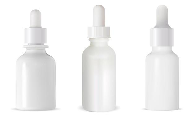 Witte druppelflesje. cosmetisch serum.