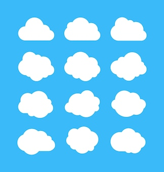 Witte eenvoudige wolken set
