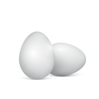 Witte eieren op een witte achtergrond. gezond eten. pasen. illustratie