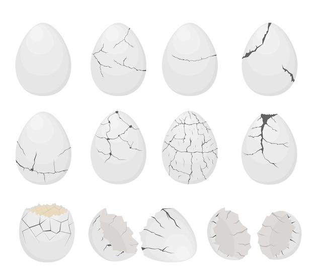Witte eierset. gebarsten, gebroken, geëxplodeerde eierschaal. twee helften van de schaal. een culinair ingrediënt. platte vectorillustratie.