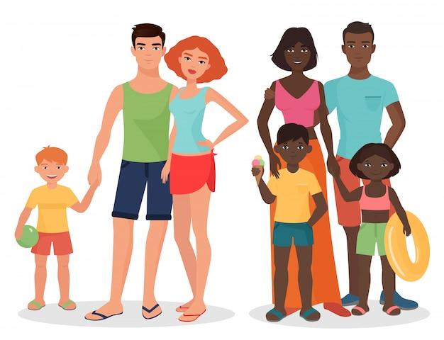 Witte en afrikaanse zwarte familie in de zomerstijl