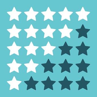 Witte en blauwe beoordelingssterren geïsoleerd op turkooizen achtergrond platte ontwerp eps 8 vectorillustratie