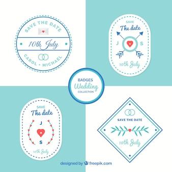 Witte en blauwe bruiloft label set