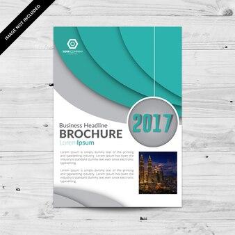 Witte en blauwe zakelijke brochure met grijze details