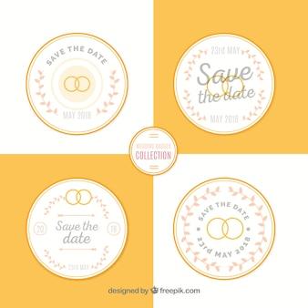 Witte en gele bruiloft label set