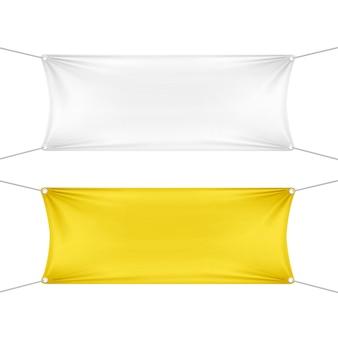 Witte en gele lege lege horizontale rechthoekige banners set met hoeken touwen