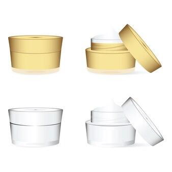 Witte en gouden cosmetica containers