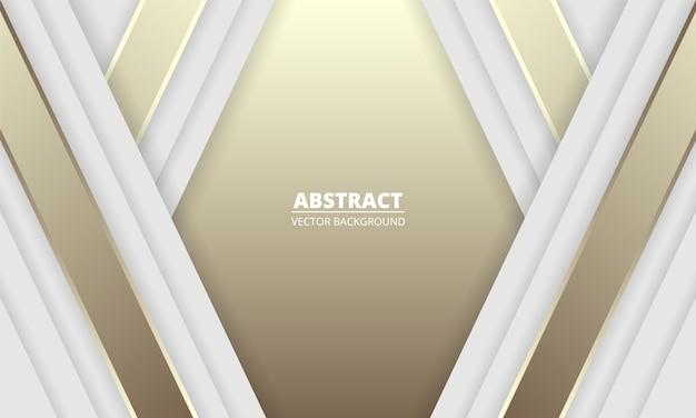 Witte en gouden luxe abstracte achtergrond met zilveren en gouden lijnen en schaduwen. moderne lichte banner met lichtgevende lijnen.