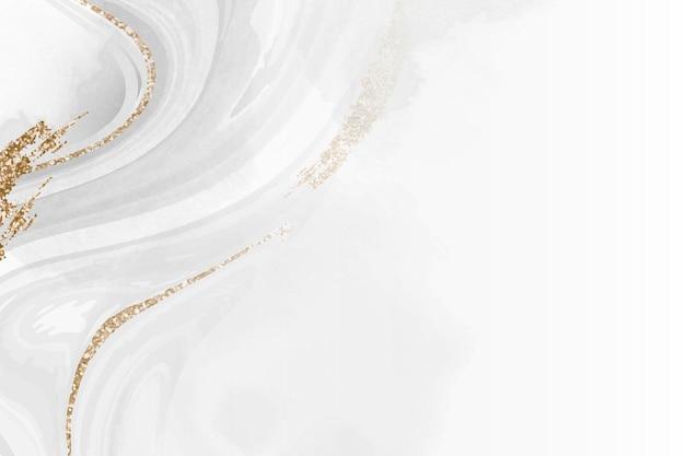 Witte en gouden vloeiende achtergrond met patroon Gratis Vector