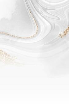 Witte en gouden vloeistof met patroon als achtergrond vector