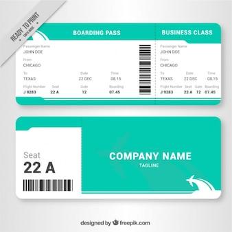Witte en groene boarding pass in plat design