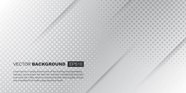 Witte en lichtgrijze minimalistische achtergrondsamenstelling met schaduwen en halftoonstructuur