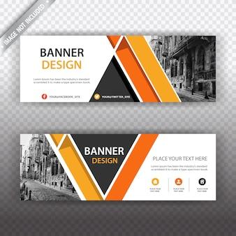 Witte en oranje banner