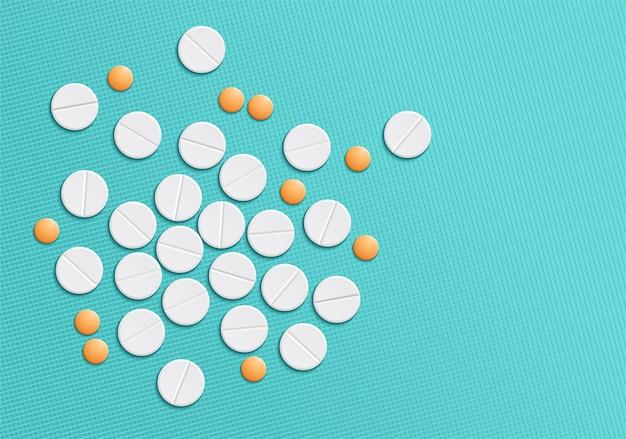 Witte en oranje pillen. geneeskunde achtergrond