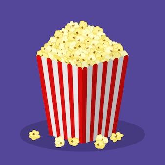 Witte en rode gestreepte papieren popcorndoos geïsoleerd