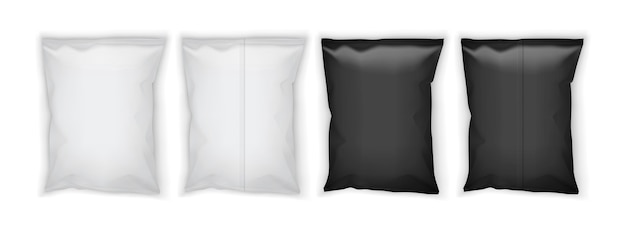 Witte en zwarte blanco verpakking geïsoleerd op witte achtergrond boven- en onderaanzicht
