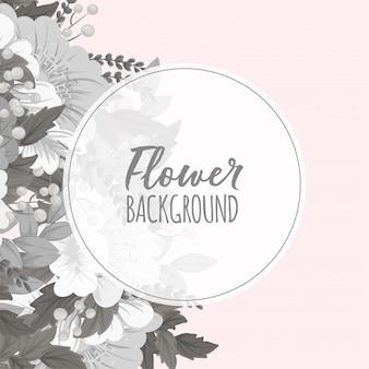 Witte en zwarte bloemencirkelgrens