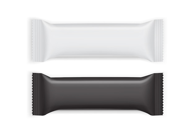 Witte en zwarte papieren verpakkingen geïsoleerd op een witte achtergrond