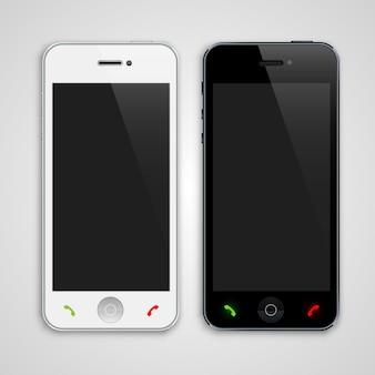 Witte en zwarte telefoonkunst. vector illustratie