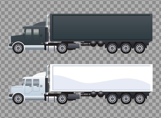 Witte en zwarte vrachtwagens auto's voertuigen merk mockup-stijl
