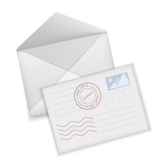 Witte envelop en briefkaart