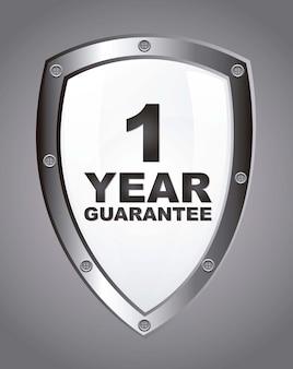 Witte garantie label schild over grijze achtergrond vector