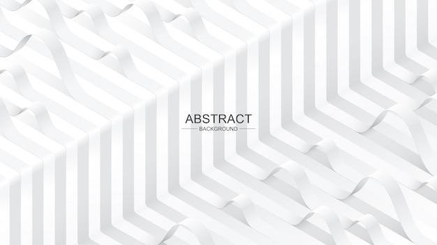 Witte gebogen linten op witte achtergrond. abstracte achtergrond.