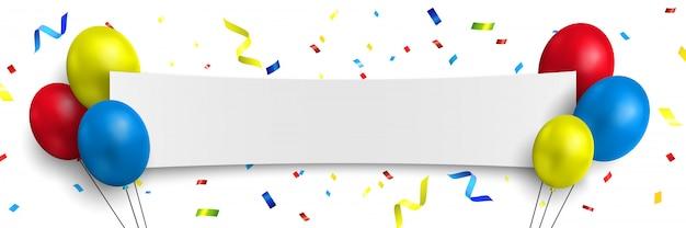 Witte gefeliciteerd banner met kleurrijke ballonnen en confetti. illustratie.