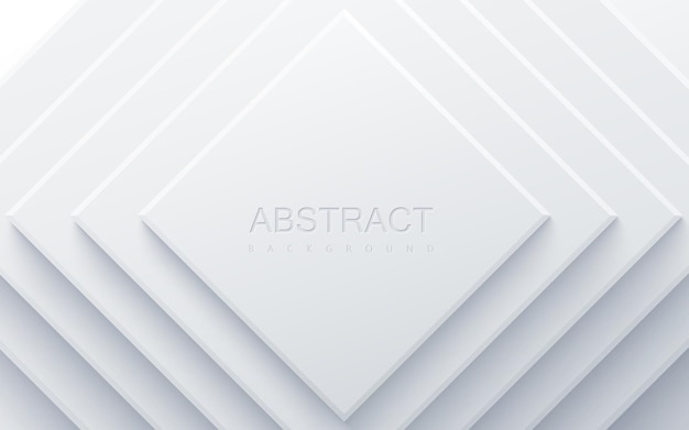 Witte geometrische achtergrond met papieren vierkante vormen