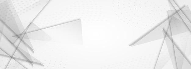 Witte geometrische dynamische vector panoramisch grijze achtergrond. technologiebrochure. transparante creatieve elementen poster. trendy decoratie.