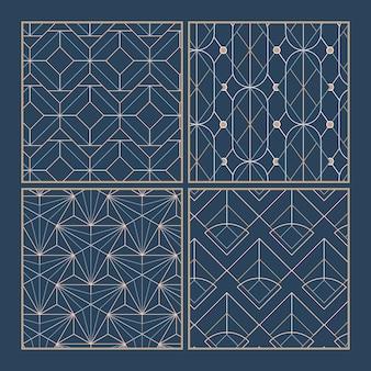 Witte geometrische naadloze patronen die op een blauwe achtergrond worden geplaatst