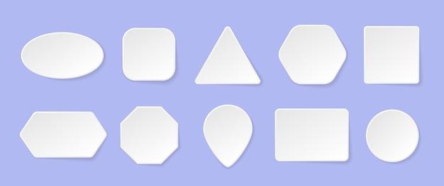 Witte geometrische vormen in een trendy zachte stijl met schaduw.