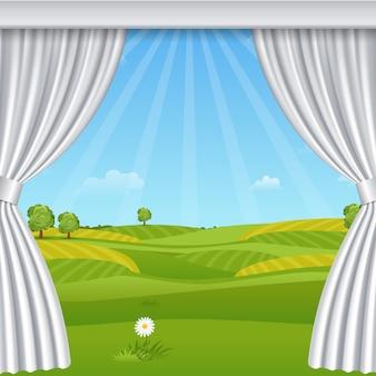 Witte geopende luxe gordijnen sjabloon