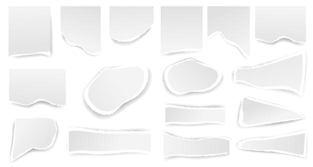 Witte gescheurde papieren gaatjes. gescheurd label en frame