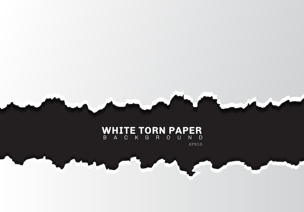 Witte gescheurde papierranden met schaduw op zwarte achtergrond