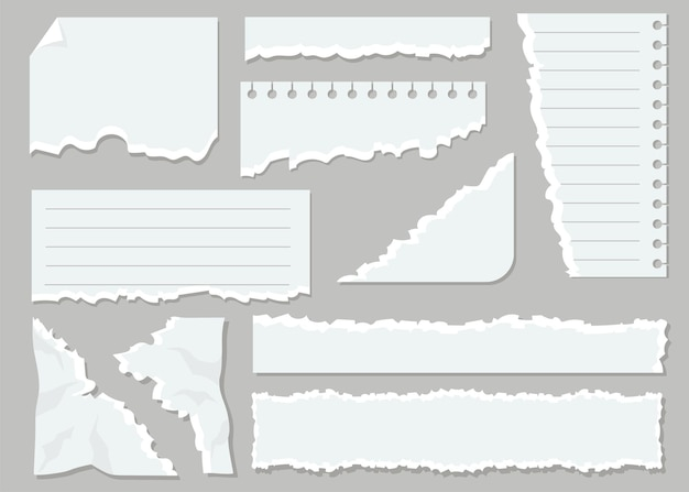 Witte gescheurde vellen platte set