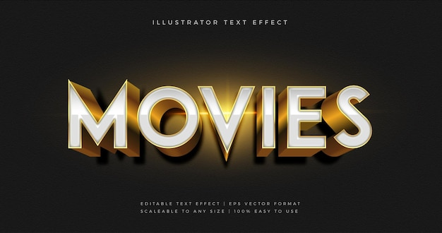 Witte glanzende films thema tekst lettertype-effect