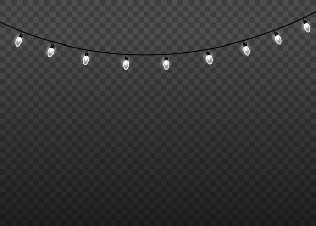 Witte gloed licht lamp op draadstrings geïsoleerd transparant