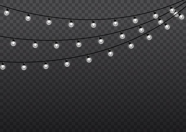 Witte gloed lichte lamp op draadkoorden geïsoleerde illustratie